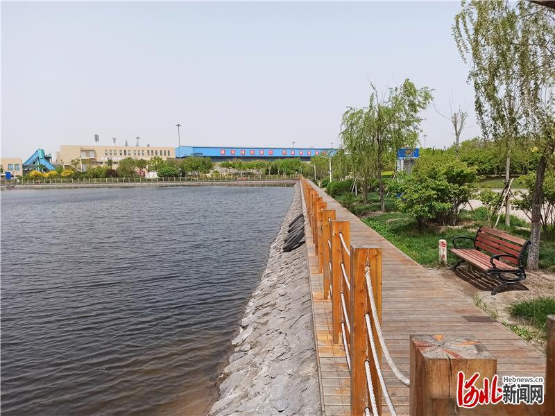 """黄骅港煤炭港区目前已建成""""两湖三湿地"""",水面面积达到近80万平方米。 河北日报记者曹智摄"""