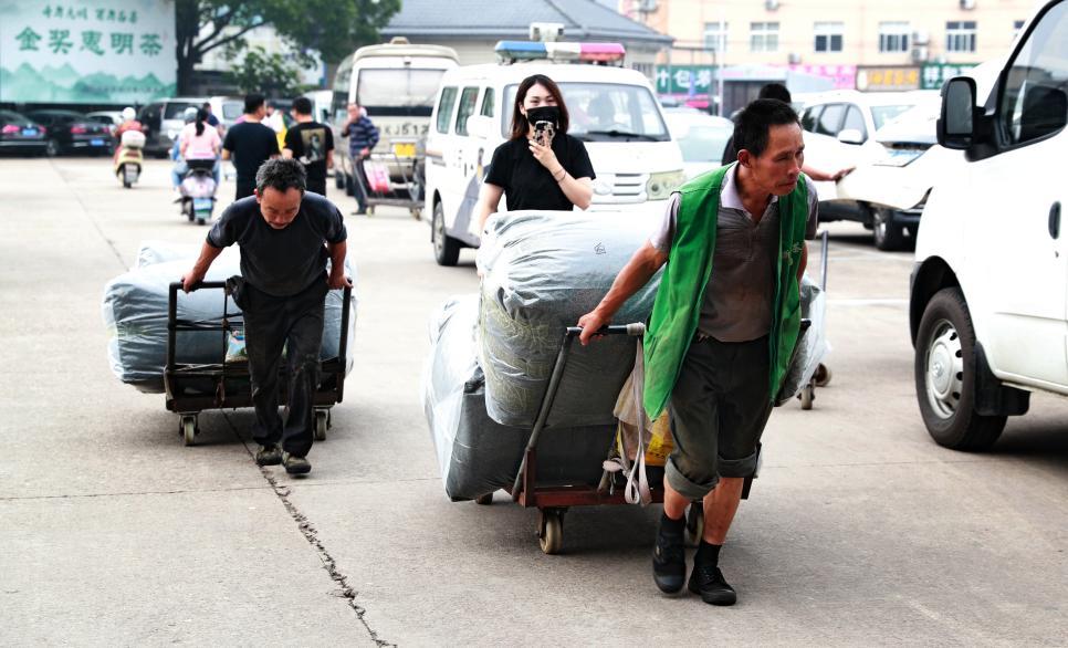 浙南茶叶市场忙碌的商贩 张锦国 摄