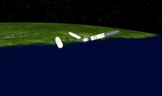 长征七号运载火箭飞行状态模拟图,从左至右分别是助推器分离、整流罩分离等瞬间。航天科技集团中国运载火箭技术研究院供图