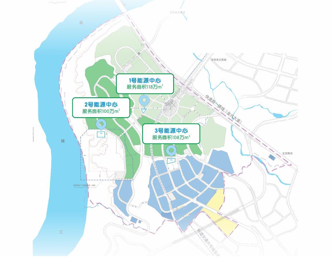 (项目示意图:整个生态城划分为三个供能分区,设置1个江水取水泵,在每个供能区的负荷中心处各建设一个绿色可再生能源中心,从嘉陵江和城市污水中提取热能,通过能源中心统一制备冷热水,并以供能管网输送到各建筑内)
