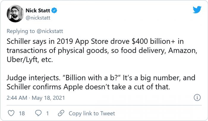 席勒:蘋果并未從價值4000億美元的實體商品中抽成