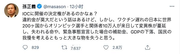 孙正义的推文