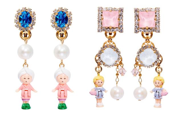 带有Polly元素的耳环。20世纪90 年代的玩具 Polly Pocket,一个拇指大小的洋娃娃。
