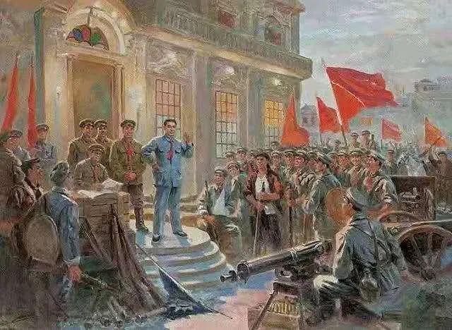 """以""""三大起义""""之一南昌起义为主题的油画作品"""