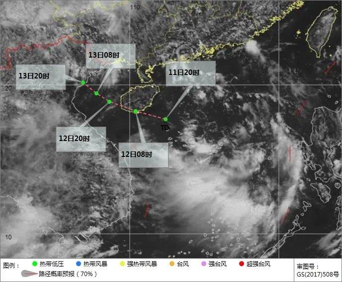 南海热带低压可能生成位置及移动方向示意图