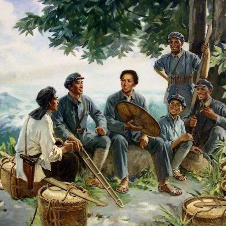1928年冬天,毛泽东和朱德与井冈山军民运粮时,在黄洋界荷树下歇息的情景。