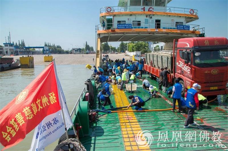 掉落在甲板上的小鱼苗被义工们用手悉心捡起(图片来源:凤凰网佛教 摄影:王根明)