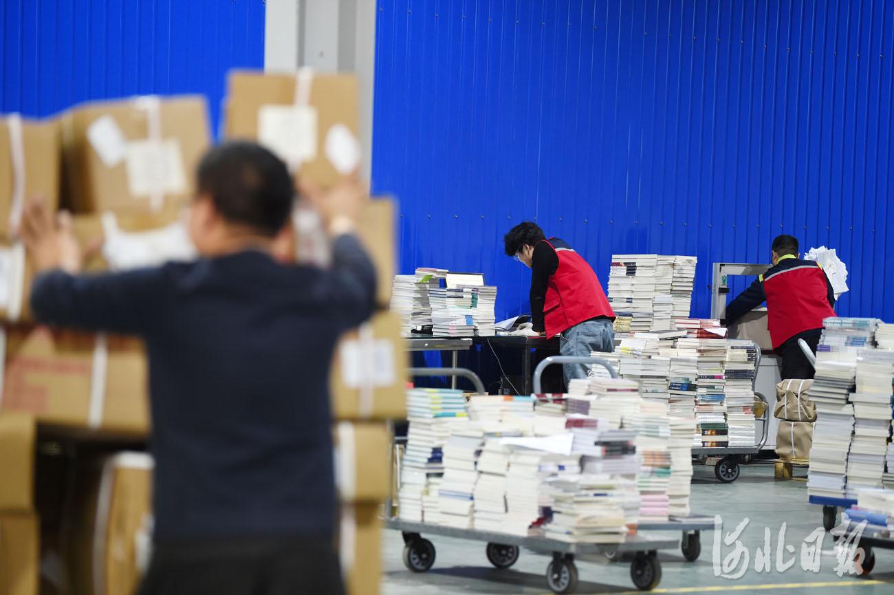 近日,在位于河北省永清县的全国工商联书业商会馆配图书联合现采基地,工作人员在处理订单信息。河北日报记者赵永辉摄影报道