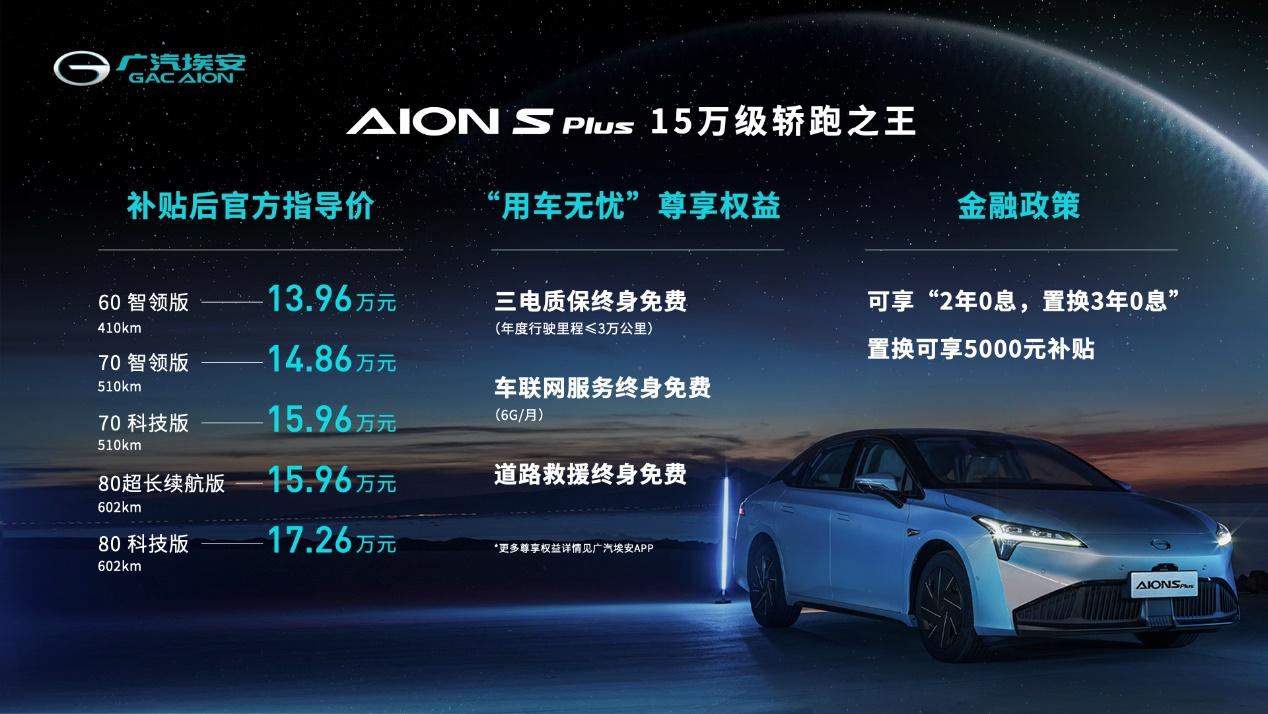廣汽埃安AION S Plus上市 售價13.96-17.26萬元