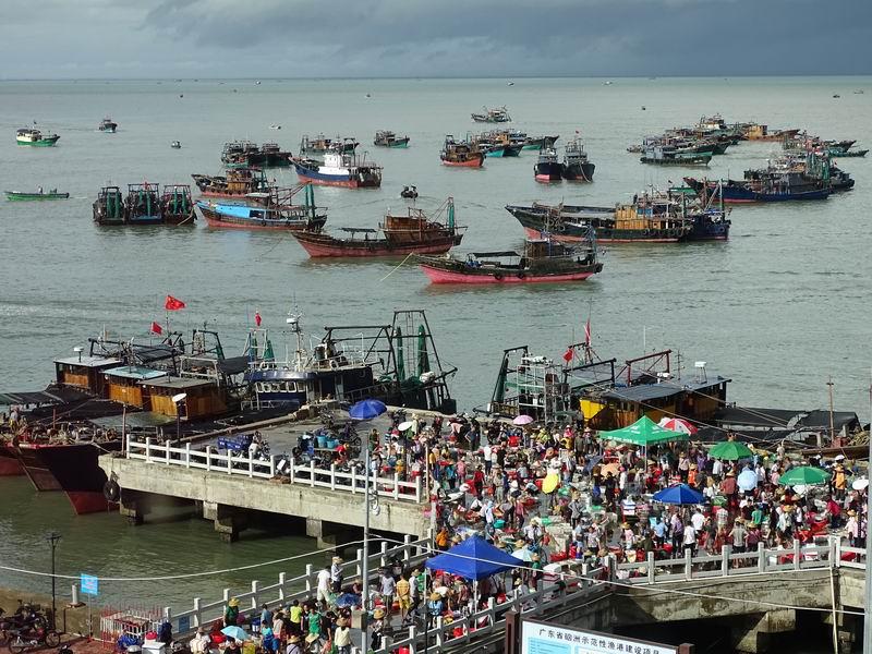 硇洲岛购买海鲜的市民