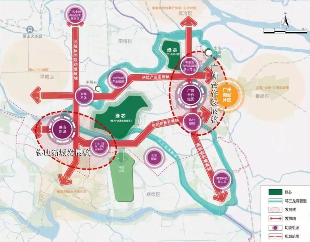 图为:三龙湾总体发展格局规划图。