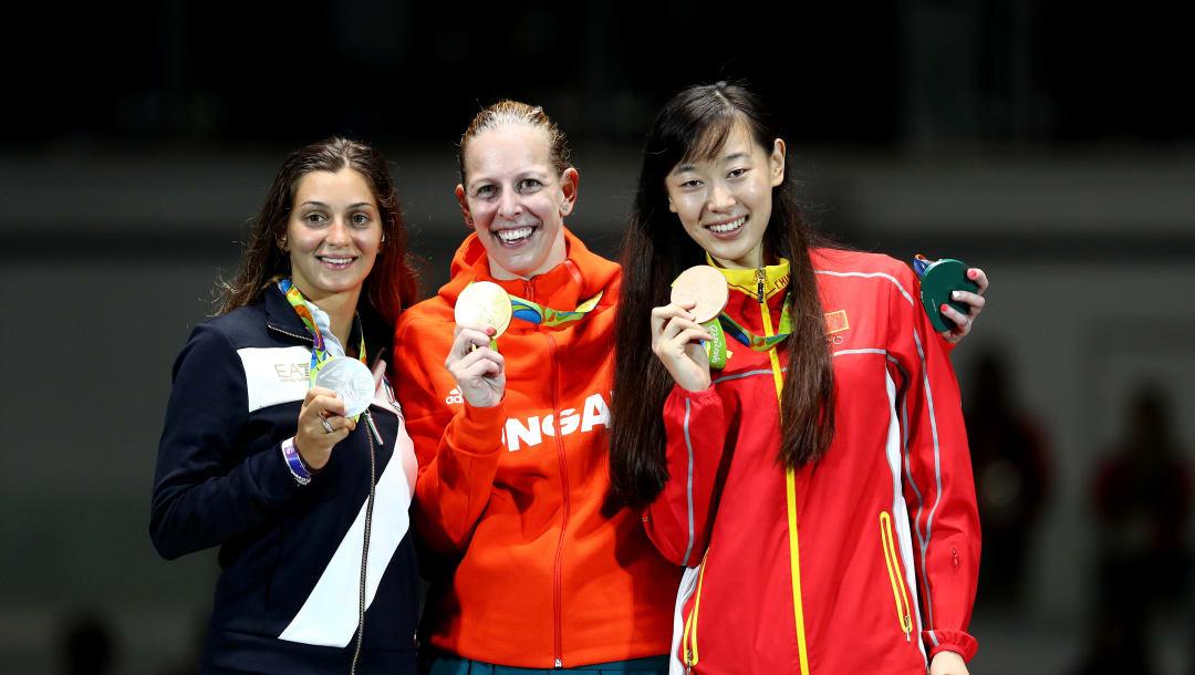 2016年里约奥运会,女子个人重剑颁奖仪式