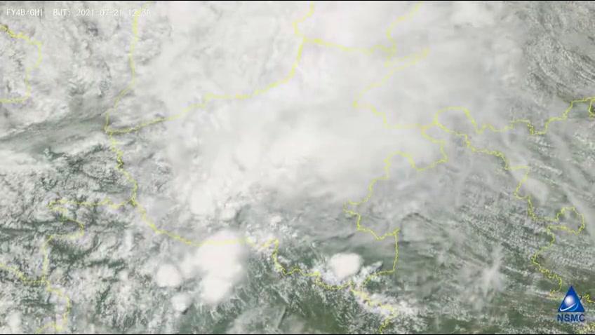 风云四号B星从太空扫描到了河南极端降雨的画面