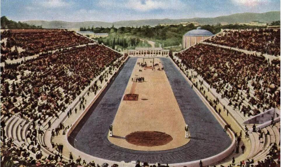 上图_ 1896年在希腊(雅典)举办第一届奥运会主场馆:雅典大理石体育场