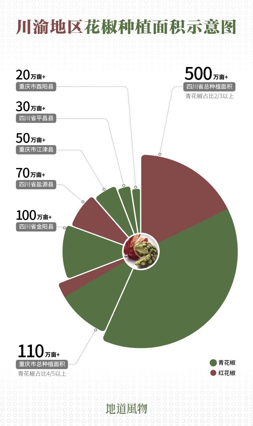 ▲ 青花椒成名虽晚,但种植面积早已超过红花椒。制图/刘航