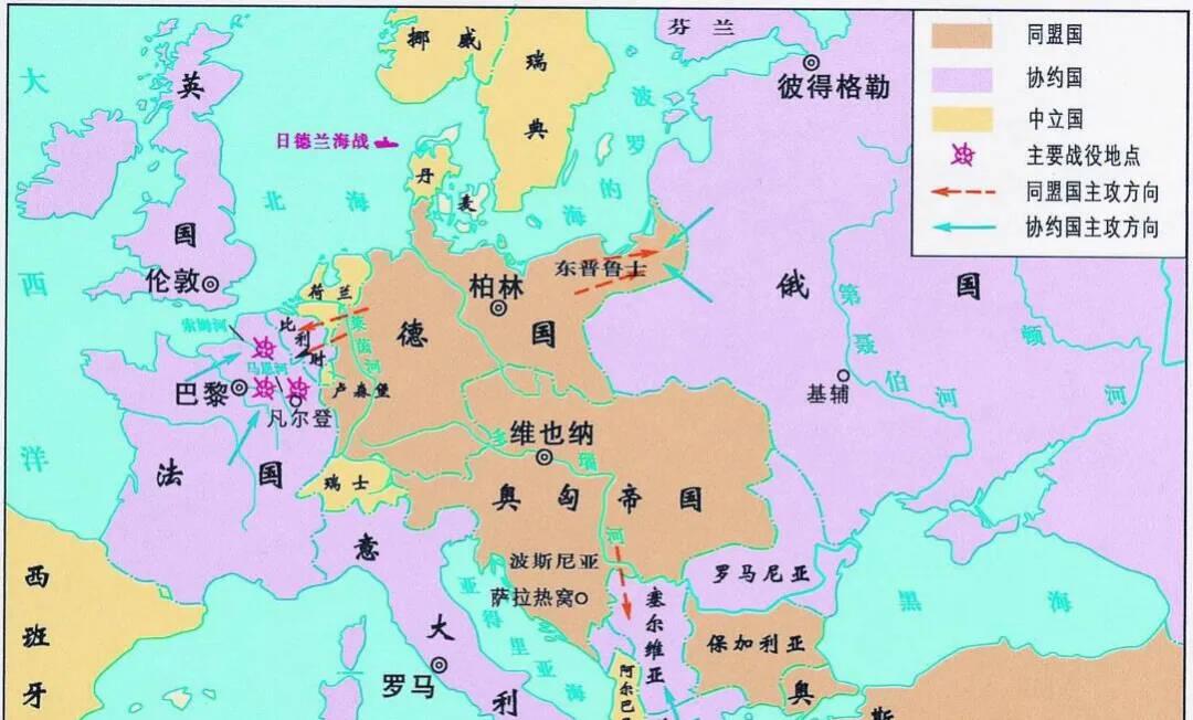上图_ 一战时期欧洲地图