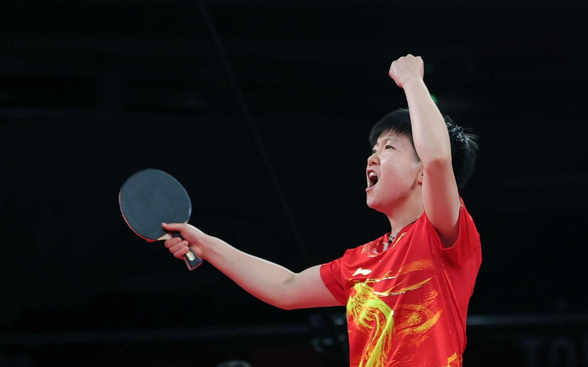 孙颖莎展示了国乒00后的力量。图/新华社