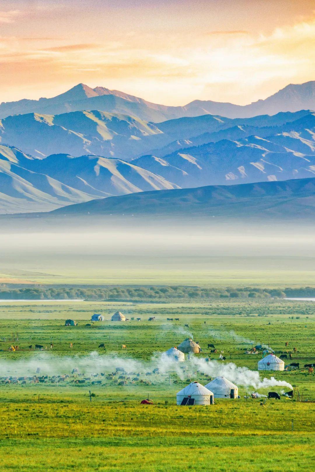 ▲ 炊烟升起,牛羊休息,这里是草原上的生活。摄影/赖宇宁