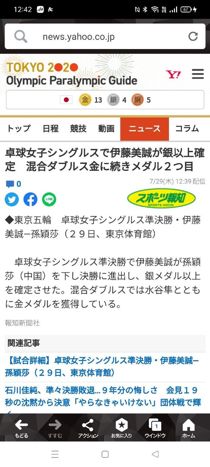日媒误报伊藤美诚战胜孙颖莎进决赛 日网友:太丢脸了