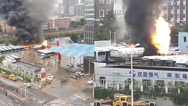沈阳一液化天然气罐车泄漏引发大火 6辆公交车被烧