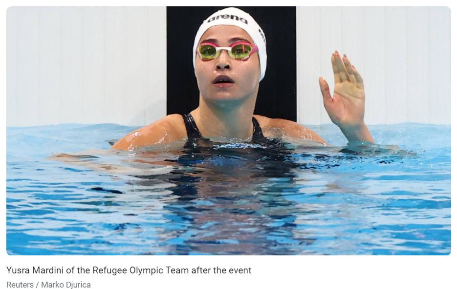 难民代表团选手尤丝拉·马尔迪尼在东京奥运会上参加女子100米蝶泳预赛。/路透社报道截图