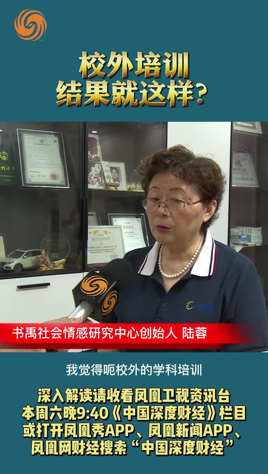 书禹社会情感学习研究中心创始人 陆蓉:校外培训结果就这样?