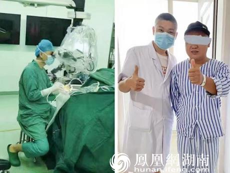 图左:常德一医神经外科文勇医生在显微镜下实施神经减压术图右:术后刘先生为医生竖起了大拇指