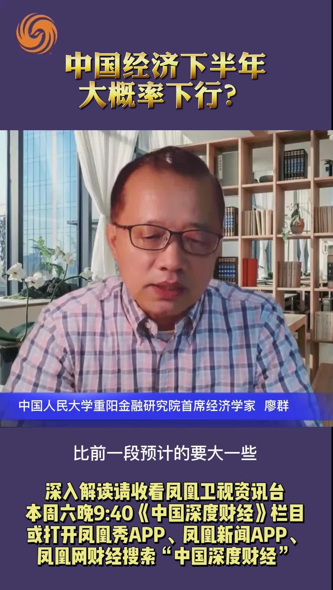 中国人民大学重阳金融研究院首席经济学家廖群:中国经济下半年大概率下行?
