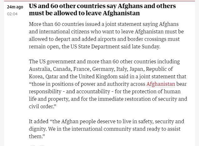 60多国发表联合声明 呼吁保障希望离开阿富汗的外国人和阿富汗人安全离境