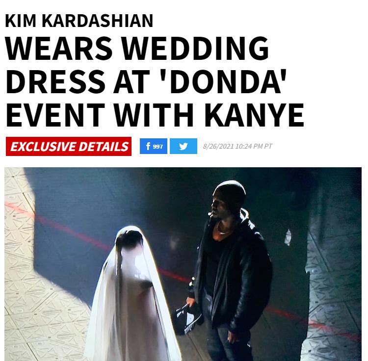 金·卡戴珊現身前夫侃爺新專輯試聽會,還穿著婚紗!