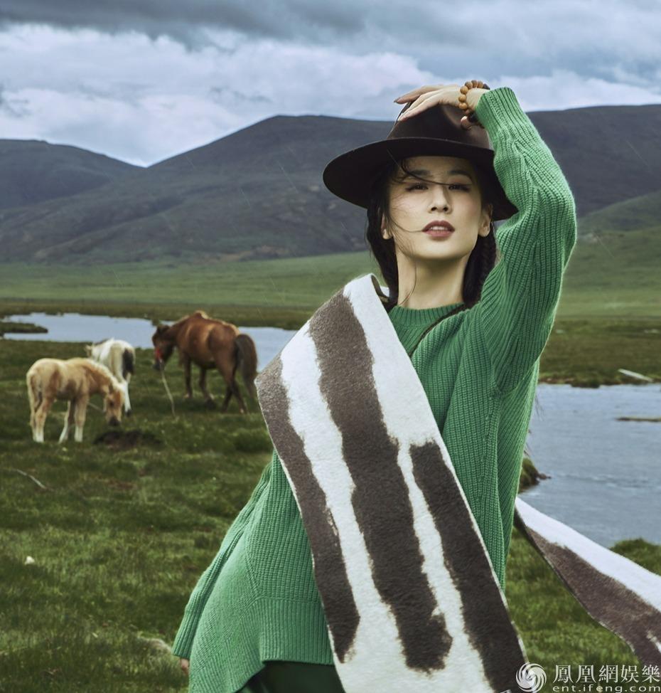 黃圣依金秋草原大片曝光 從容豁達盡顯純粹之美