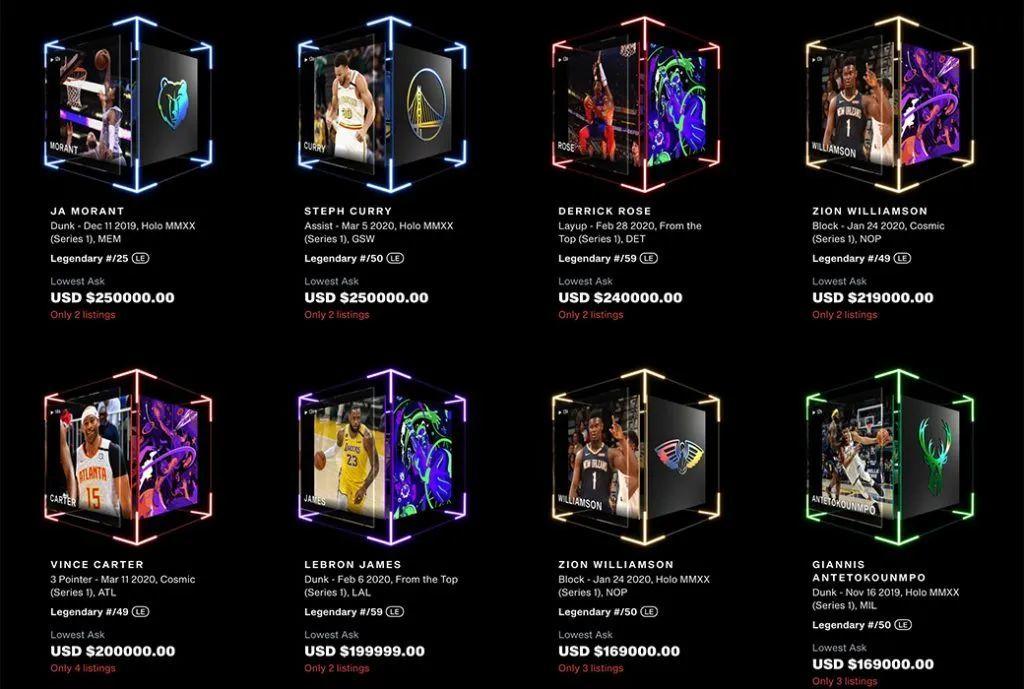 NBA球星卡NFT,图源微博