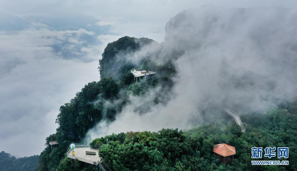 9月2日拍摄的云雾缭绕的龙头山景区(无人机照片)。位于川陕交界的陕西省汉中市南郑区龙头山旅游景区四季云雾缥缈,若隐若现的群山林海宛如一幅幅淡雅的中国画。新华社记者 陶明 摄
