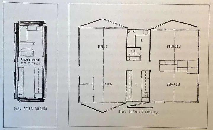 Carl Koch 绘制的预制房屋 Acorn Homes 效果图. 图片来自:Treehugger