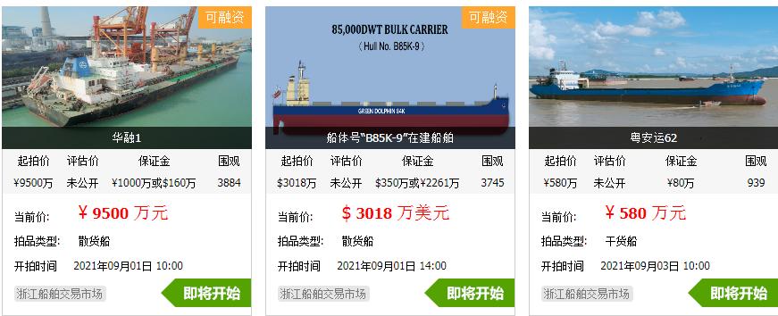 市场运力紧缺,8艘干散货船舶将集中上市拍卖