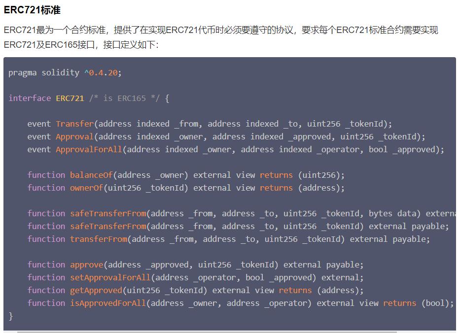 """制作NFT的编程标准""""ERC721协议"""" 图源Tiny熊《剖析非同质化代币ERC721》"""