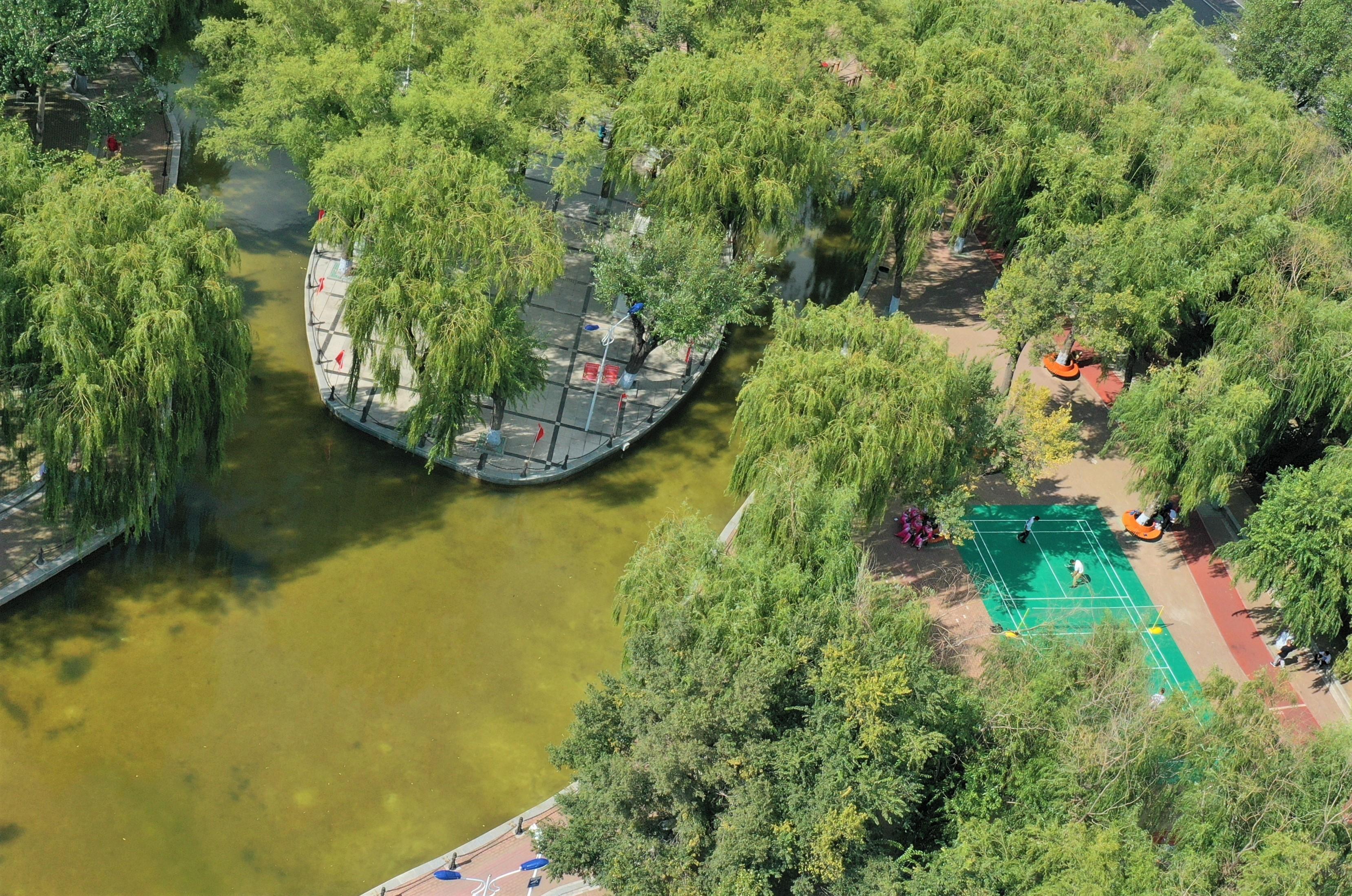 建国公园人工湖边增设羽毛球场地