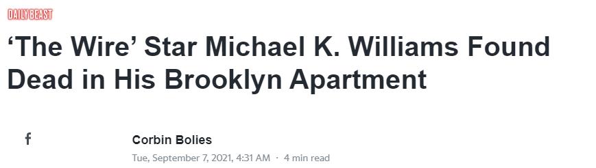 演员迈克尔·肯尼斯·威廉姆斯去世 死因可能为吸毒过量
