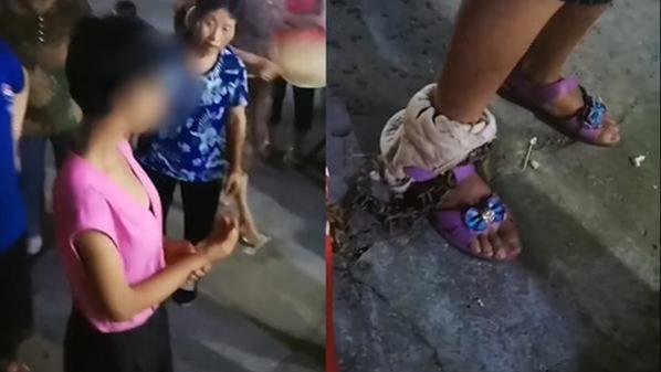 13岁女孩脚戴铁链离家出走 官方:因偷窃被父亲锁住
