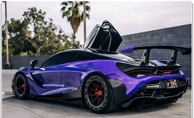 迈凯伦720S全新改装版紫色涂装大量碳纤维配件-图3