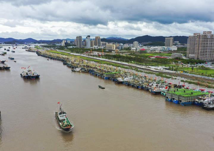 2021年9月12日,舟山市沈家门渔港停满了船舶,船只纷纷回港避风。舟山日报记者 张磊