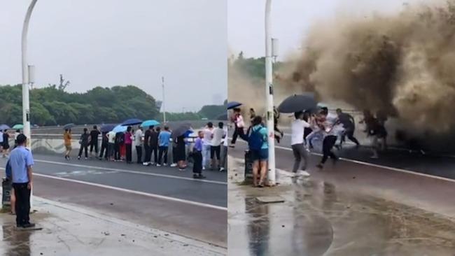 游客钱塘江观潮全身被拍湿 巨浪迎头盖下现场曝光!