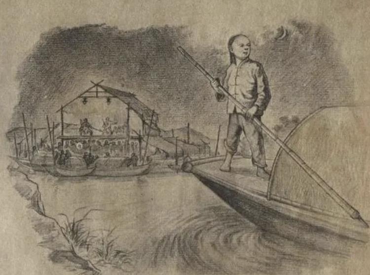 根据鲁迅《社戏》改编的连环画《社戏》插图,张路绘,朝花美术出版社,1957年版