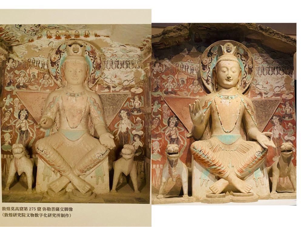 """这是一张拼接图。左侧为敦煌研究院文物数字化研究所提供的敦煌第275号窟交脚弥勒佛照片,右侧为东京艺术大学用""""克隆""""技术复原的同一佛像。新华社记者 郭丹 摄"""