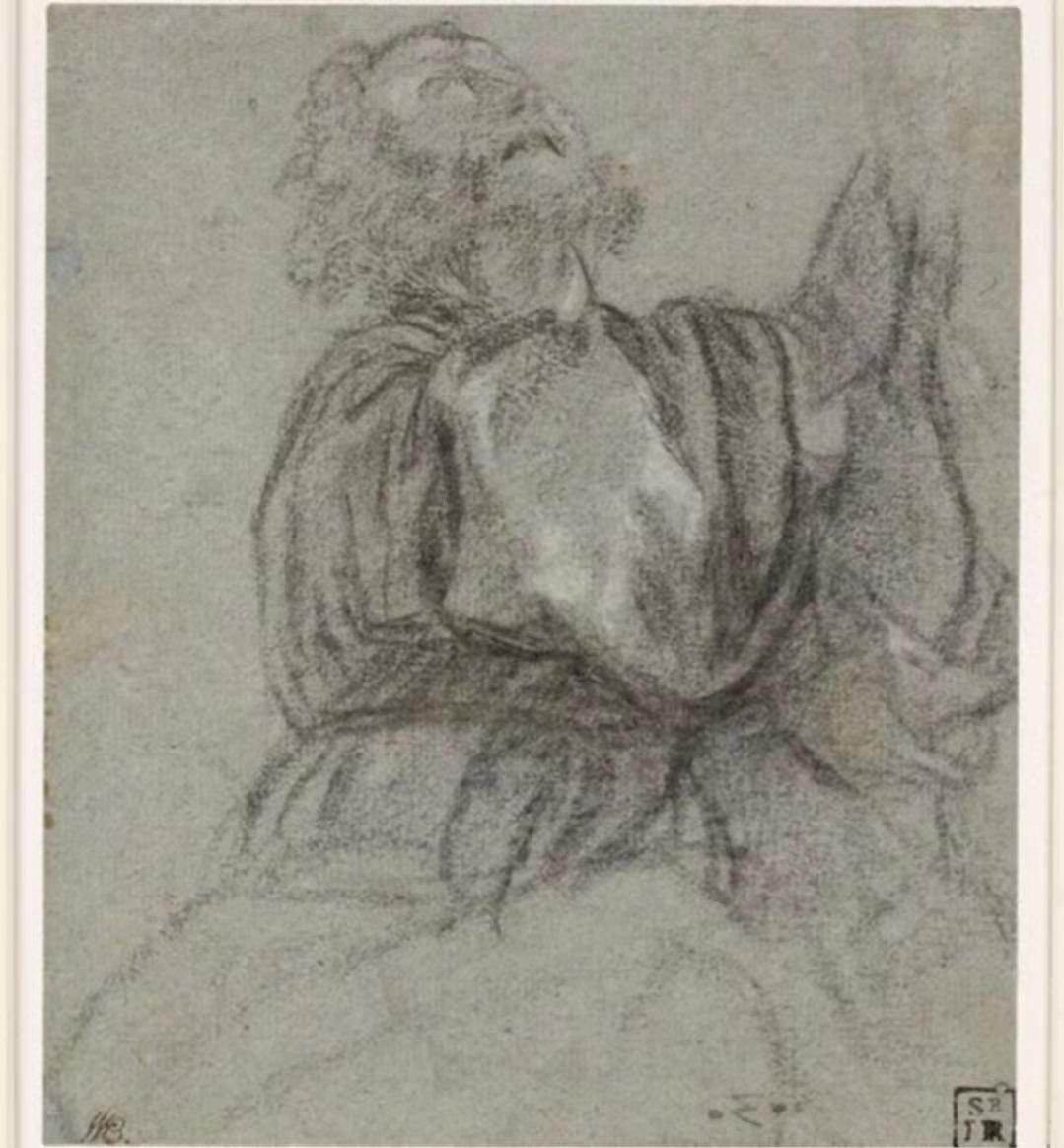 提香·韦切利奥,(简称提香约1488/90至1576年)的《着衣男子习作》(约1516年)