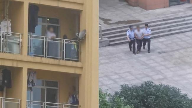男子疑醉酒后家中与人争吵 对面邻居拍下紧张一幕