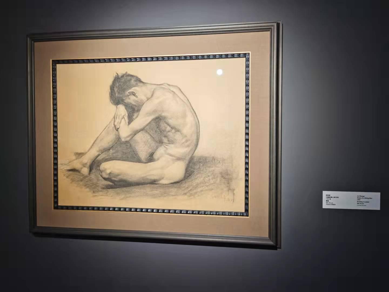 靳尚谊画作《坐着的男人体习作》