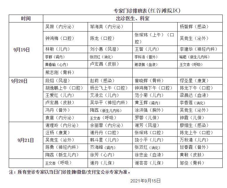 江西省儿童医院2021中秋节专家门诊排班表出炉