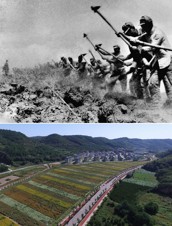 △这是一张拼版照片,上图为:抗日战争期间,八路军三五九旅在南泥湾开荒生产(资料照片);下图为:2020年8月25日拍摄的延安南泥湾景色(祁小军 摄)。