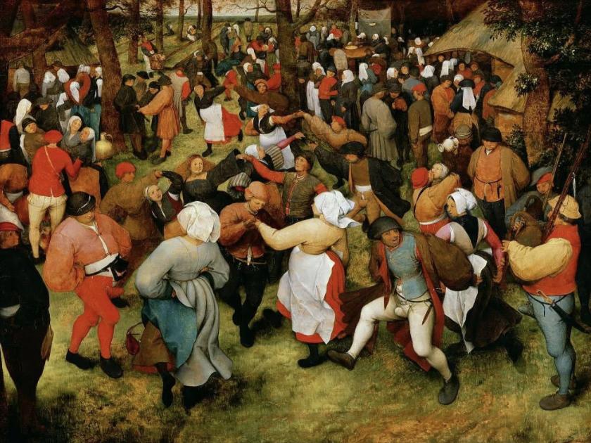 16世纪尼德兰画家老彼得·勃鲁盖尔绘制的《农民之舞》,表面上看起来农民们载歌载舞,一派欢声笑语,但背后却隐藏着一个悲伤的原因:农民们跳舞并非因为欢乐,而是因为食物中毒导致的精神错乱。为了充饥,他们不得不将能找到的一切粮食甚至是草籽做成面包,其中包括发霉长出麦角的黑麦,这些麦角中含有的麦角酸,是强烈的致幻剂,会让人头晕目眩,神经失常,跳舞不止,有些人甚至在饥饿与舞蹈中倒地身亡。